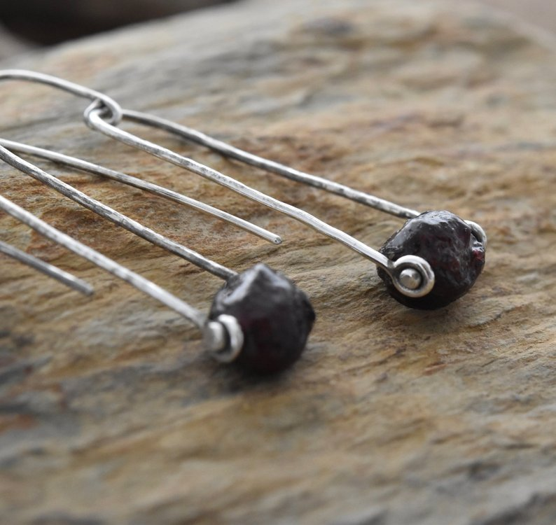 Planet Dot Jewelry Slightly Tumbled Deep Red Garnet Sterling Silver Trapeze Earrings