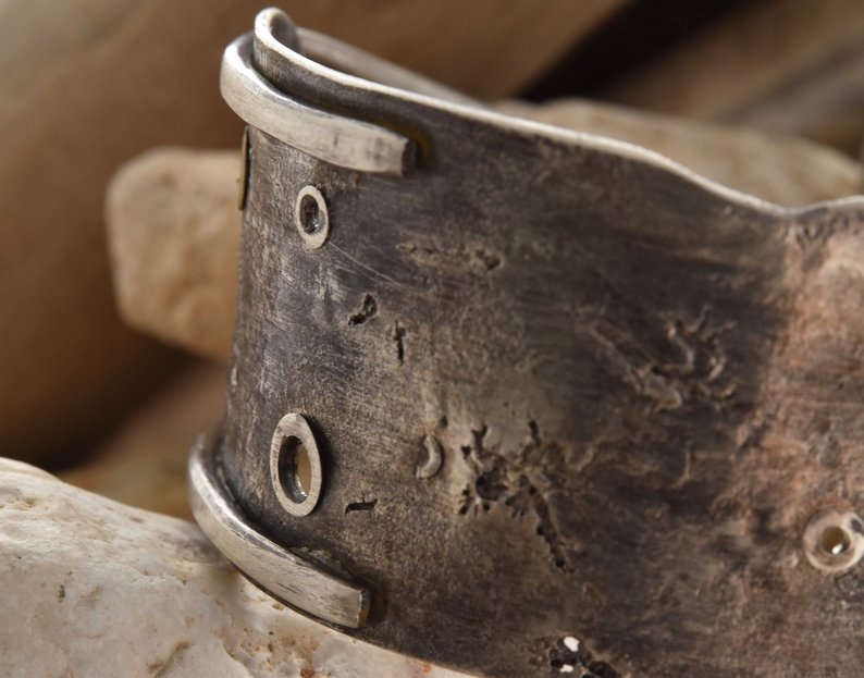 Planet Dot Jewelry Fused and Riveted Sterling Silver and 14k Gold Cuff Bracelet