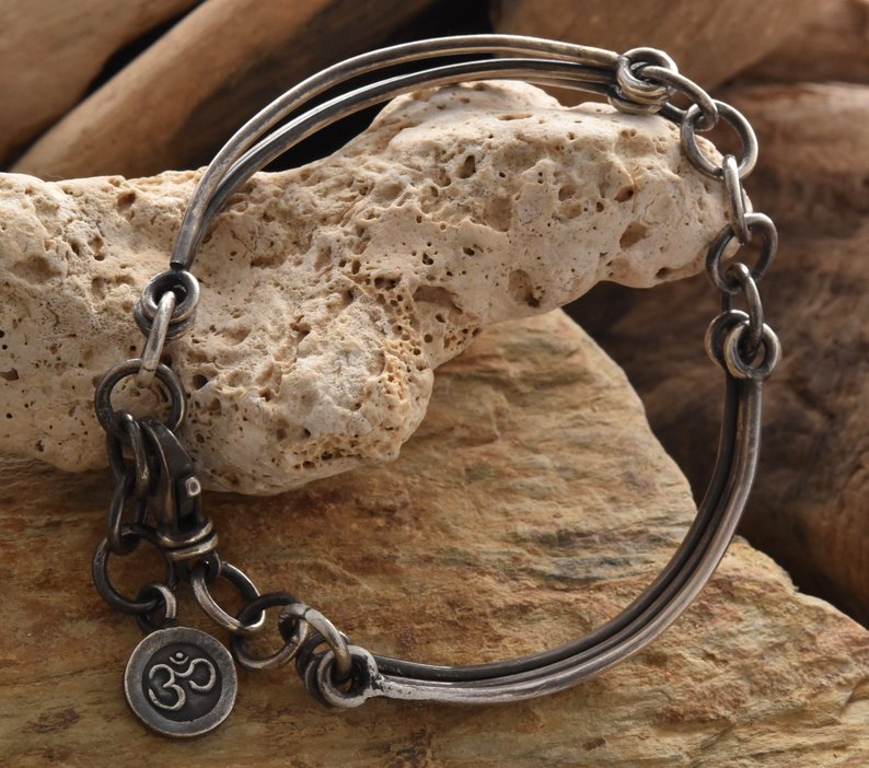 Planet Dot Jewelry Sterling Silver Adjustable Bracelet with Ohm Charm