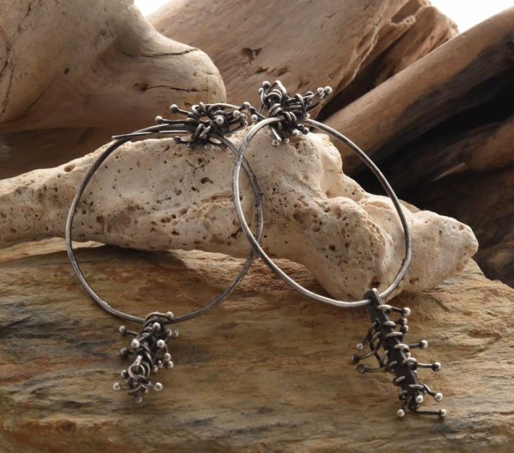 Planet Dot Jewelry Large Sterling Silver Hoops with Abstract Nests of Fine Silver Branches