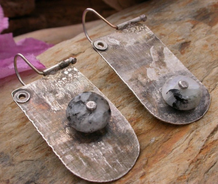 Planet Dot Jewelry Organic Riveted Sterling Silver Tab Earrings with Tourmalated Moonstone