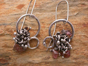 Planet Dot Jewelry Sterling Silver Double Ring Tangle Earrings with Pink Tourmaline