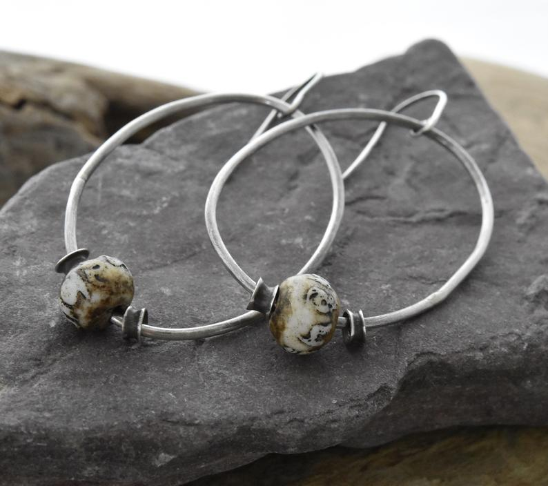 Planet Dot Jewelry Sterling Silver Oval Rings with Carved Ohm Bead and Hand Fabricated Vertebrate Bead Earrings