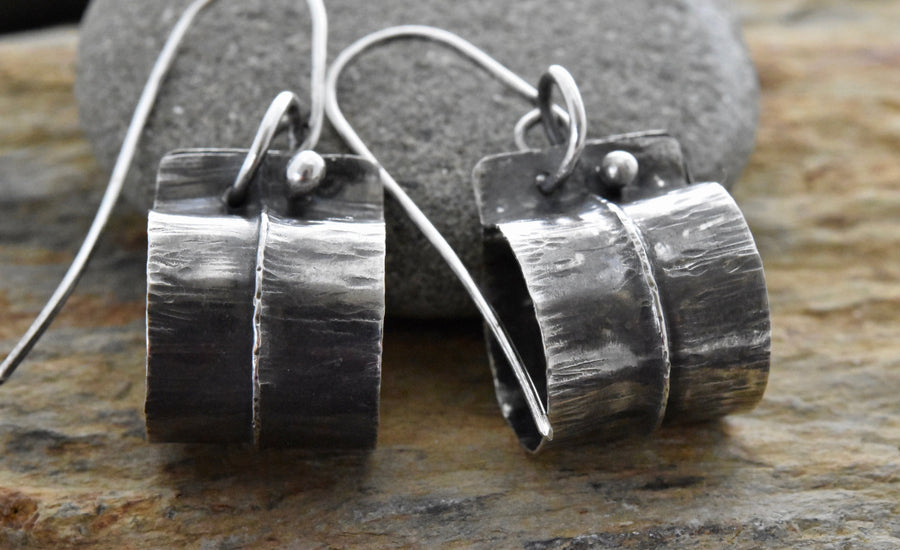 Planet Dot Jewelry Fold Formed Sterling Silver Barrel Earrings