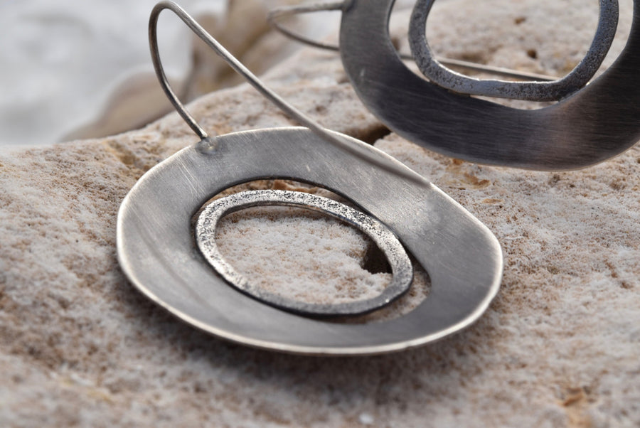 Planet Dot Jewelry Hand Fabricated Organic Ring Earrings