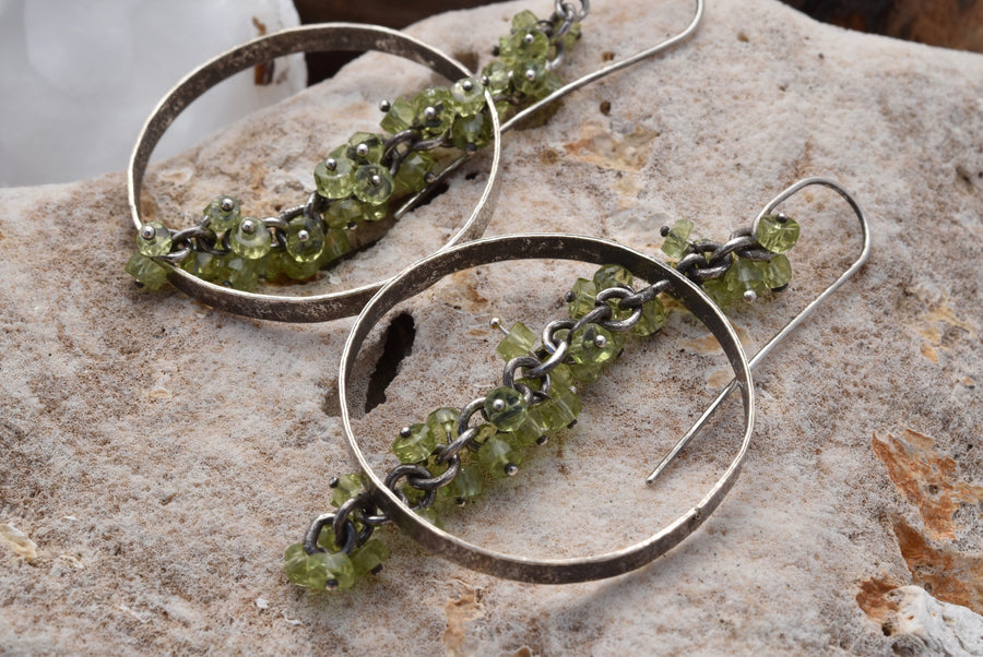 Planet Dot Jewelry Sterling Silver Earrings and a Pinned Peridot Fringe