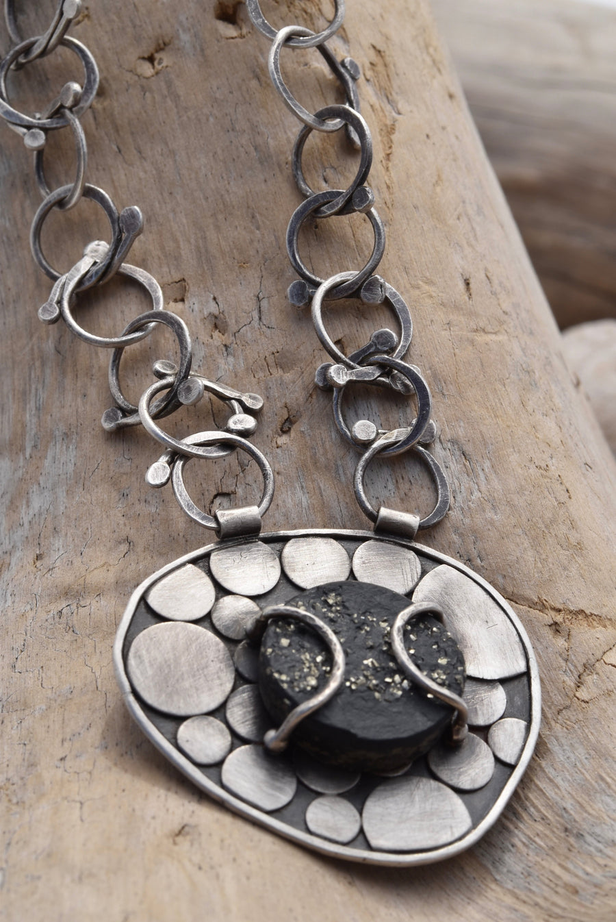 Planet Dot Jewelry Sterling Silver Pebble Necklace with Pyrite