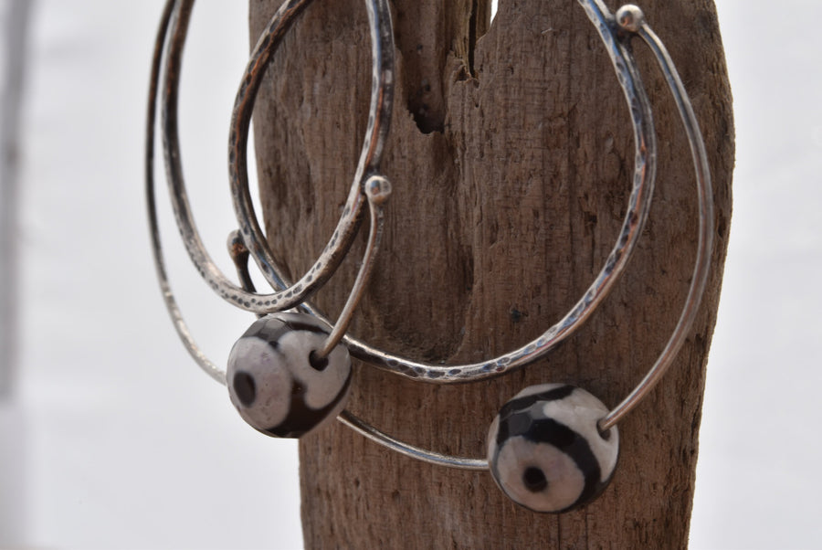 Planet Dot Jewelry Sterling Silver Hoop Earrings with Agate