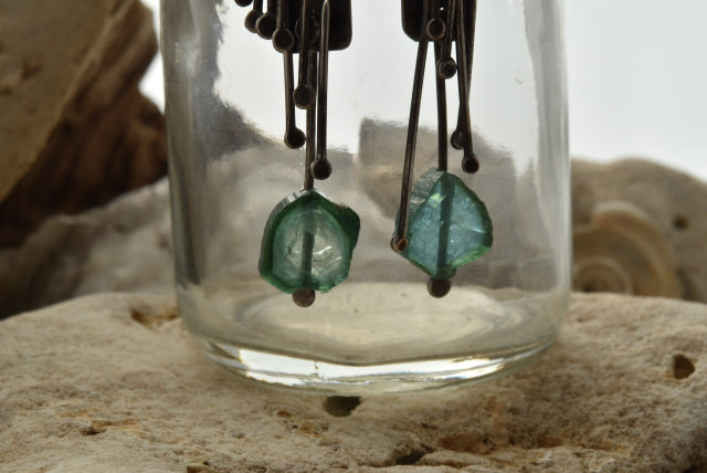 Planet Dot Jewelry Long Tendril Earrings with Blue/Green Tourmaline Slice