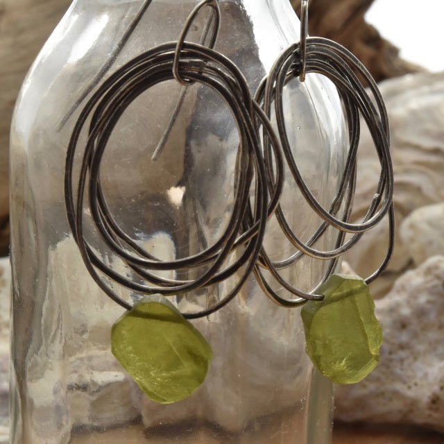 Planet Dot Jewelry Multi Ring Earrings with Vesuvianite Slice