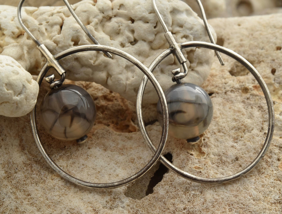 Planet Dot Jewelry Veined Agate within Sterling Silver Ring Earrings