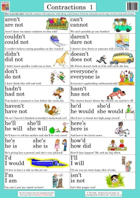 Contractions 1 Wallchart (Grade 2) 9781741621112