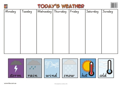 Weather and Days of the Week Wallchart (Prep) 9781741621365