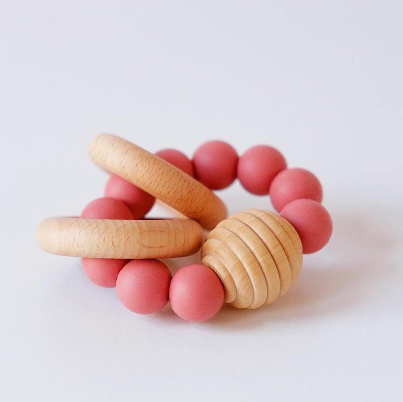 Beehive Silicone & Wooden Teething Toy-Rust Red