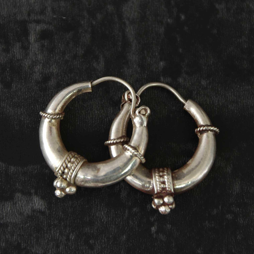 Nepalese Silver Hoop Earrings