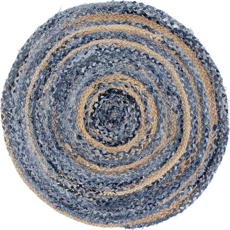 Round Jute and Upcycled Denim Rug - 120 cm - Rainbow Life