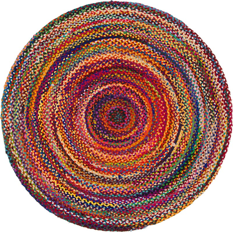 Round Jute and Upcycled Cotton Rug -150 cm - Rainbow Life