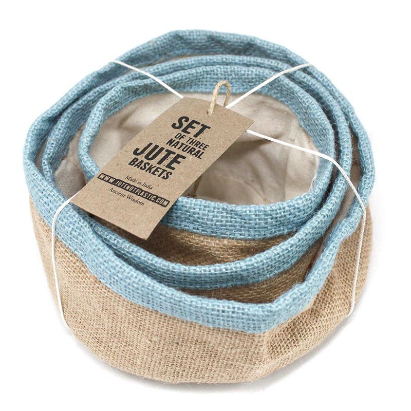 Set of Natural Jute Baskets - Sky Blue