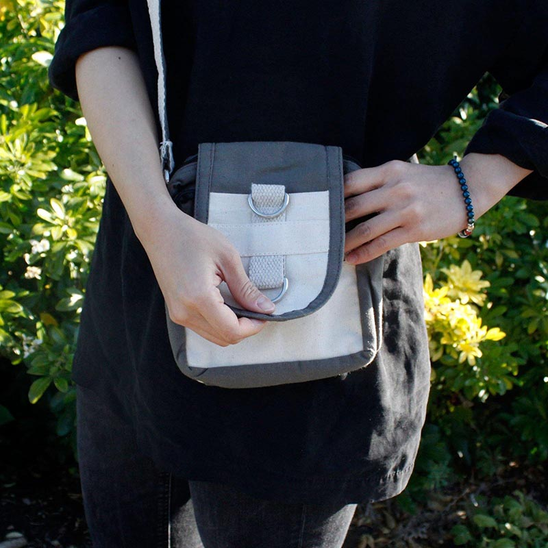 Natural Cotton Body Cross Bag - Charcoal