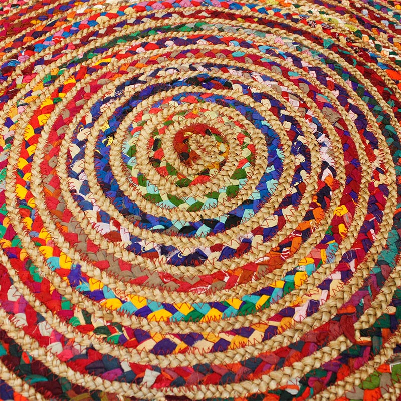 Round Jute and Upcycled Cotton Rug - 90 cm - Rainbow Life