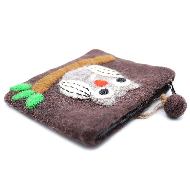 Felt Zipper Pouch  - Owl on Branch