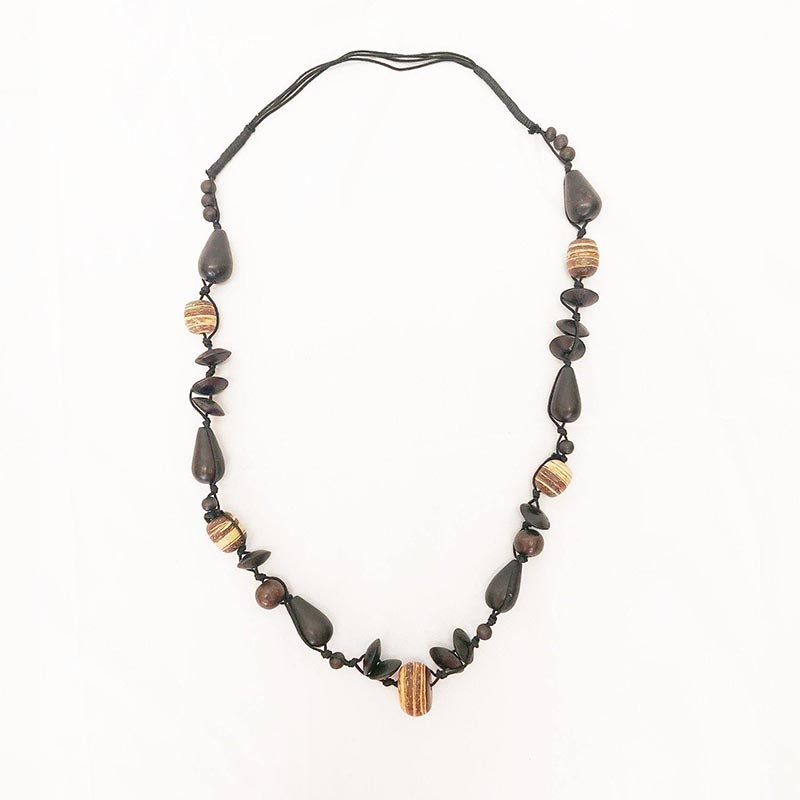 Carved Wood Oval on Beaded Collar - Rainbow Life