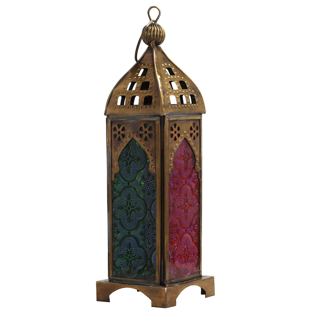 Multicoloured Glass Lantern - Rainbow Life