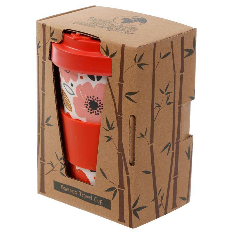 Bamboo Reusable Screw Top Travel Mug-Poppy Fields