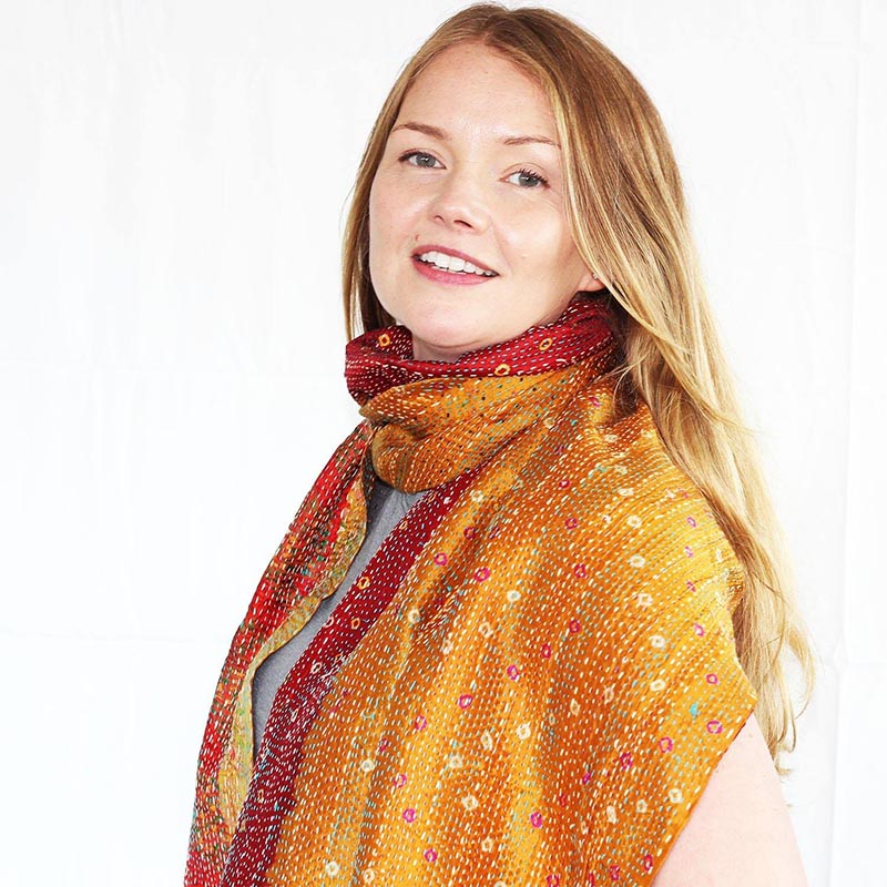 Upcycled Kantha Stitch Silk Sari Scarves