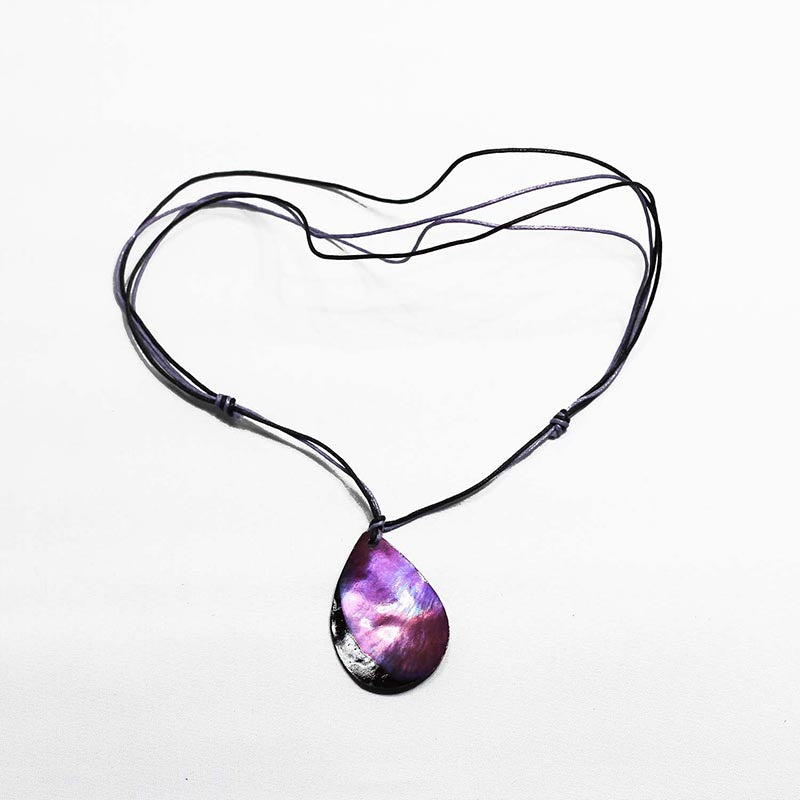 Teardrop Shell On Purple Necklace - Rainbow Life