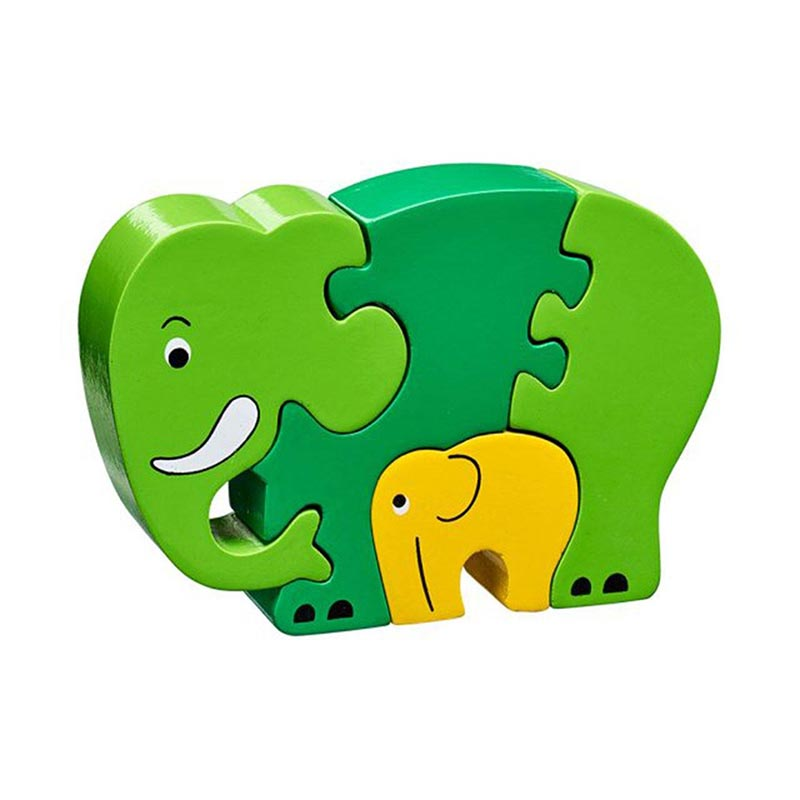 Simple Jigsaw Puzzle - Green Elephant & Calf