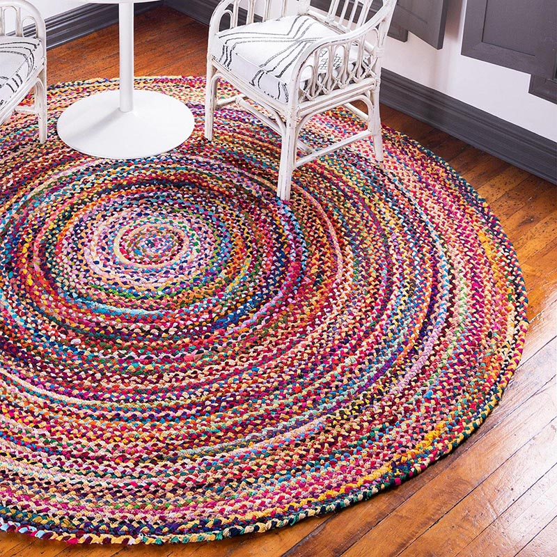 Round Jute and Upcycled Cotton Rug - 120 cm