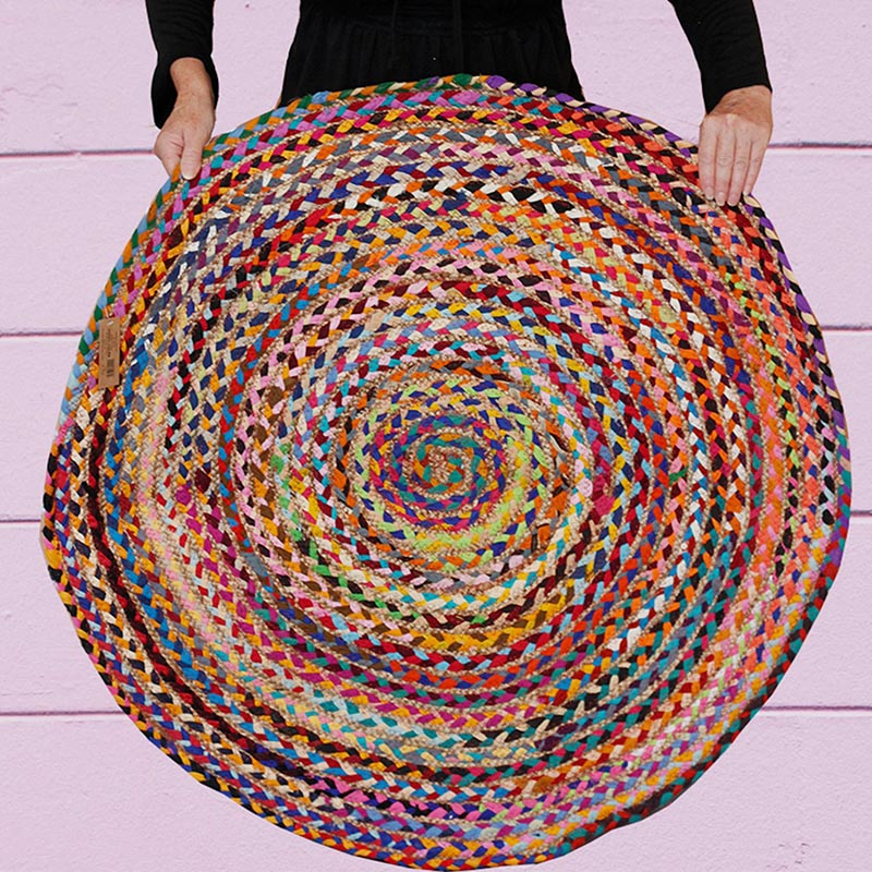 Round Jute and Upcycled Cotton Rug - 120 cm - Rainbow Life