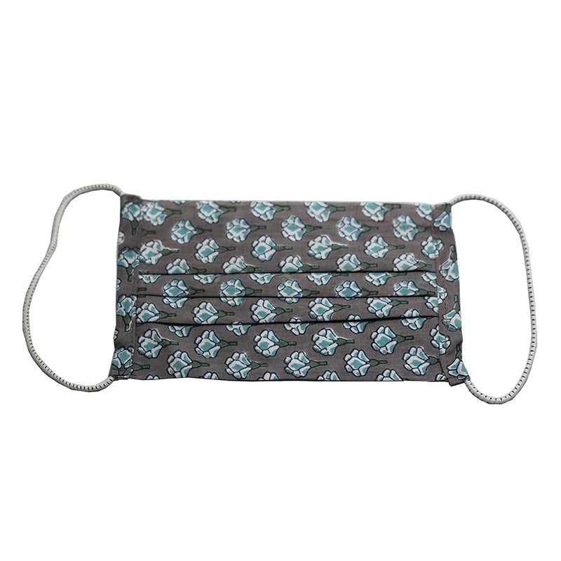 SETU Two Ply Elastic Face Mask - Dark Grey with Teal and White Lotus Pattern - Rainbow Life