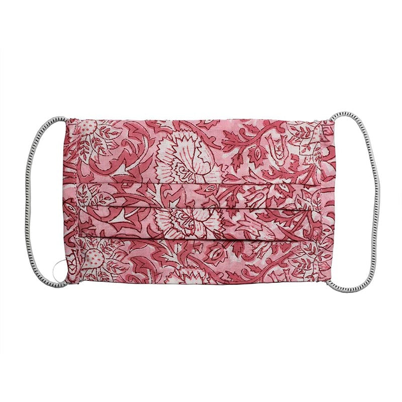 SETU Two Ply Elastic Face Mask - Alternating Shades of Pink Floral Pattern - Rainbow Life