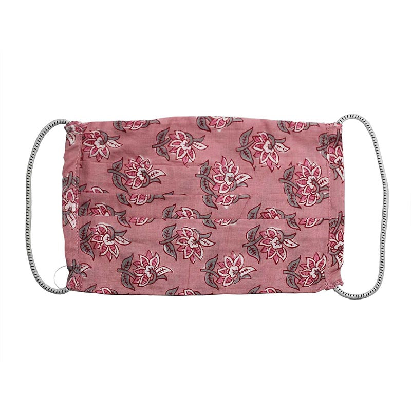 SETU Two Ply Elastic Face Mask - Dark Pink with Pink and White Floral Pattern - Rainbow Life