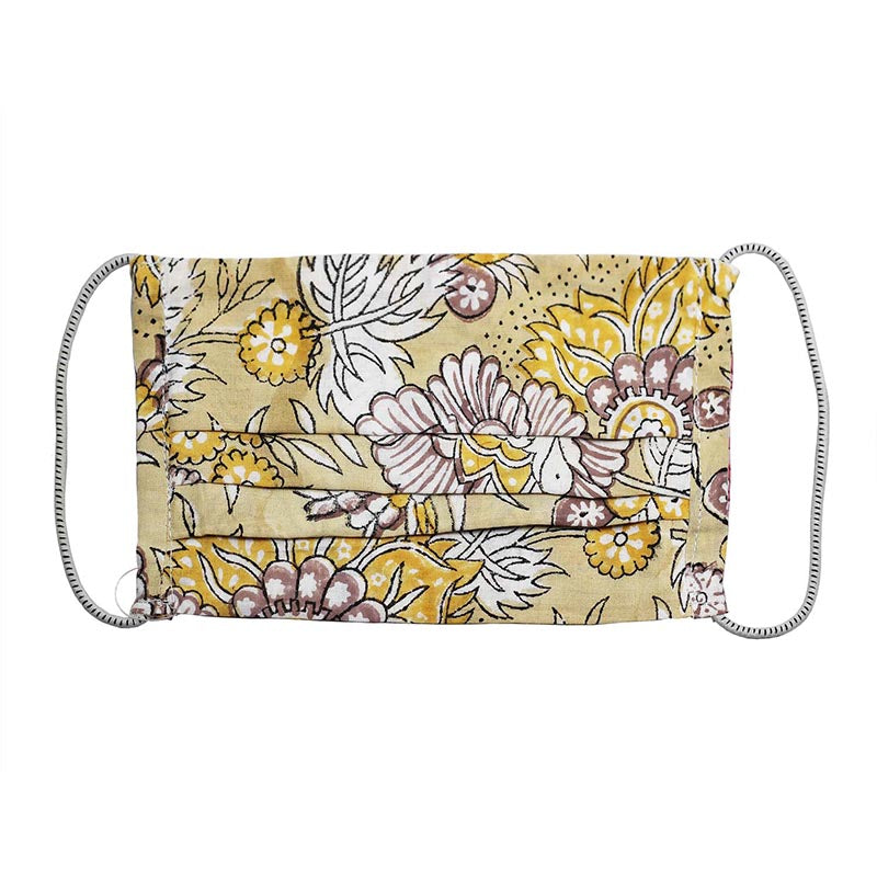 SETU Two Ply Elastic Face Mask - Yellow, White and Brown Floral Pattern - Rainbow Life