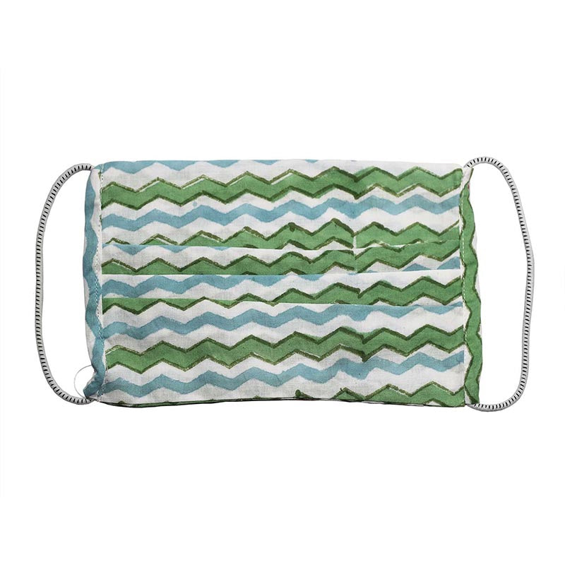 SETU Two Ply Elastic Face Mask - Ocean Blue, Green and White Alternating Zig-Zag Pattern - Rainbow Life