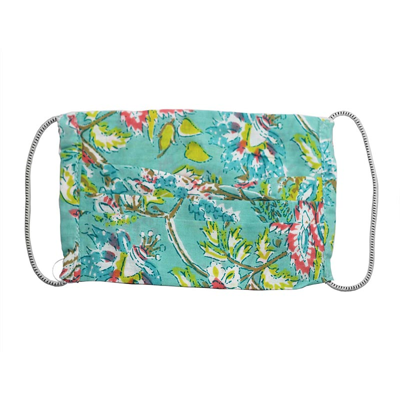 SETU Two Ply Elastic Face Mask - Sky Blue with Green, Pink White and Brown Floral Design - Rainbow Life