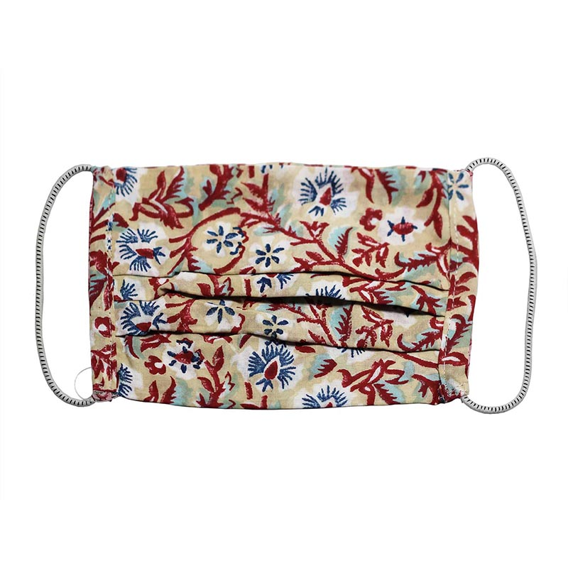 SETU Two Ply Elastic Face Mask - Beige with Burgundy, Navy and White Floral Pattern - Rainbow Life