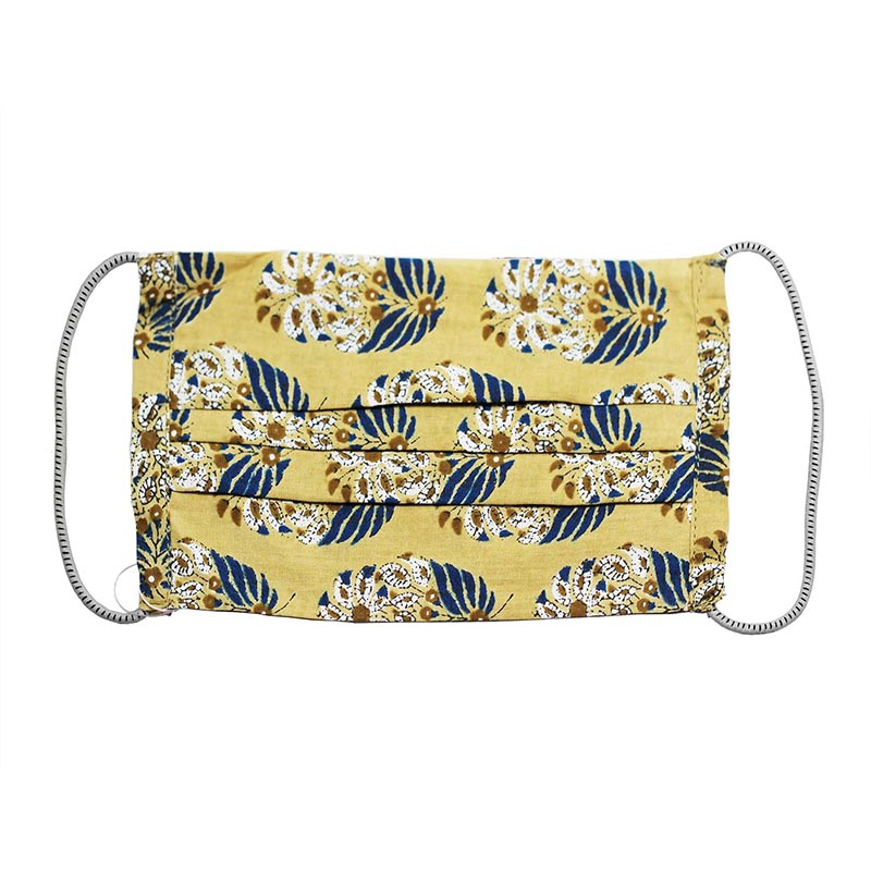 SETU Two Ply Elastic Face Mask - Cream with Navy and White Floral Design - Rainbow Life