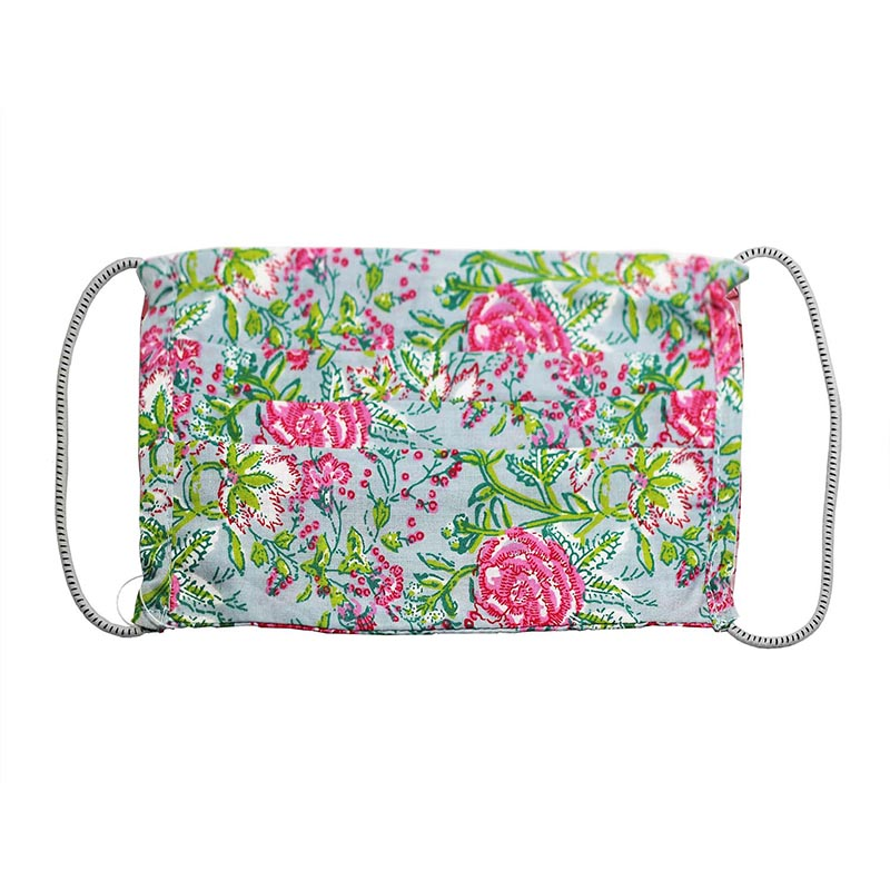 "SETU Two Ply Elastic Face Mask - Grey with ""Popping"" Pink and Green Floral Pattern - Rainbow Life"