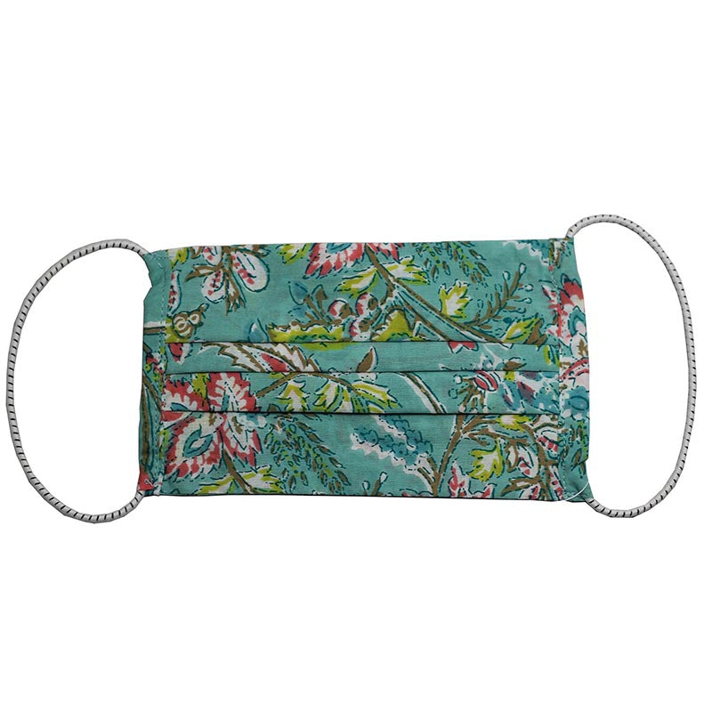 SETU Three Ply Elastic Face Mask - Sky Blue with Green, Pink White and Brown Floral Design - Rainbow Life