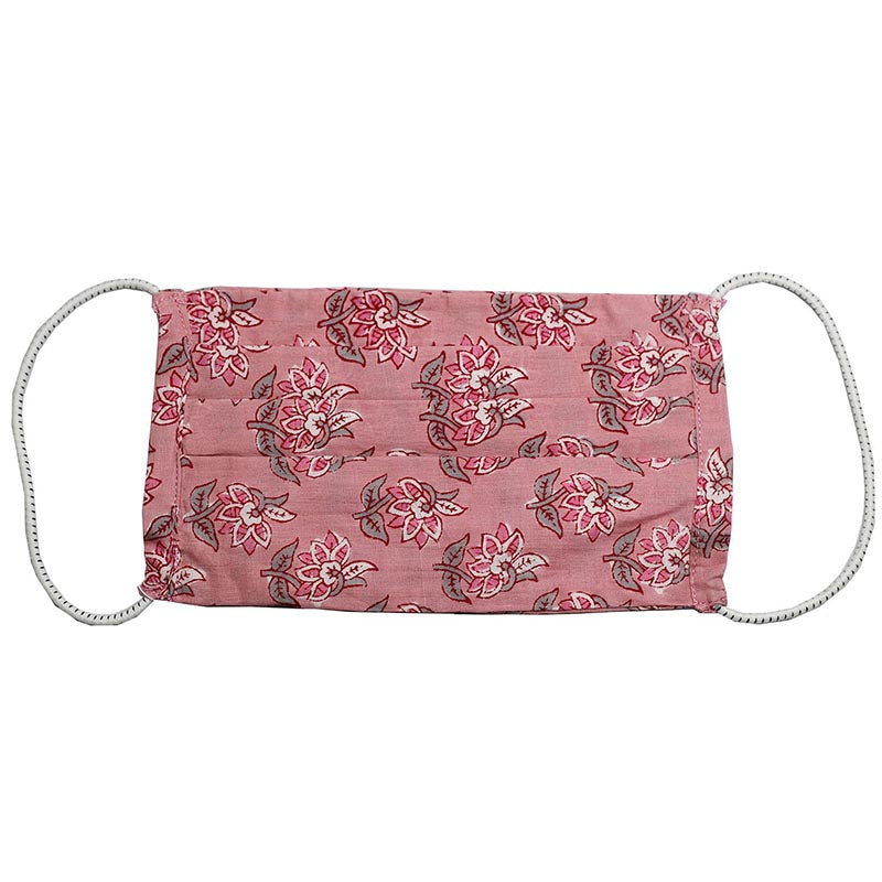 SETU Three Ply Elastic Face Mask - Dark Pink with Pink and White Floral Pattern - Rainbow Life