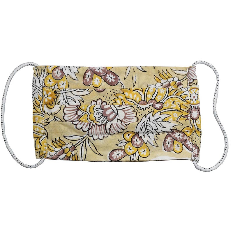 SETU Three Ply Elastic Face Mask - Yellow, White and Brown Floral Pattern - Rainbow Life