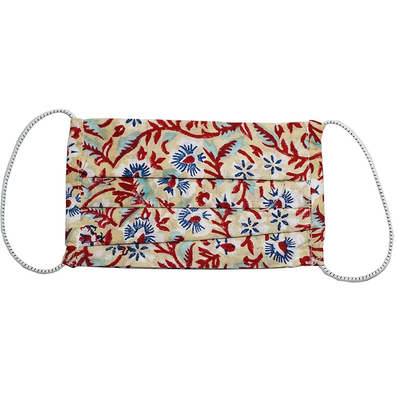 SETU Three Ply Elastic Face Mask - Beige with Burgundy, Navy and White Floral Pattern - Rainbow Life