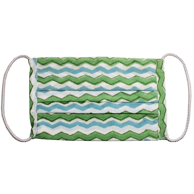 SETU Three Ply Elastic Face Mask - Ocean Blue, Green and White Alternating Zig-Zag Pattern - Rainbow Life