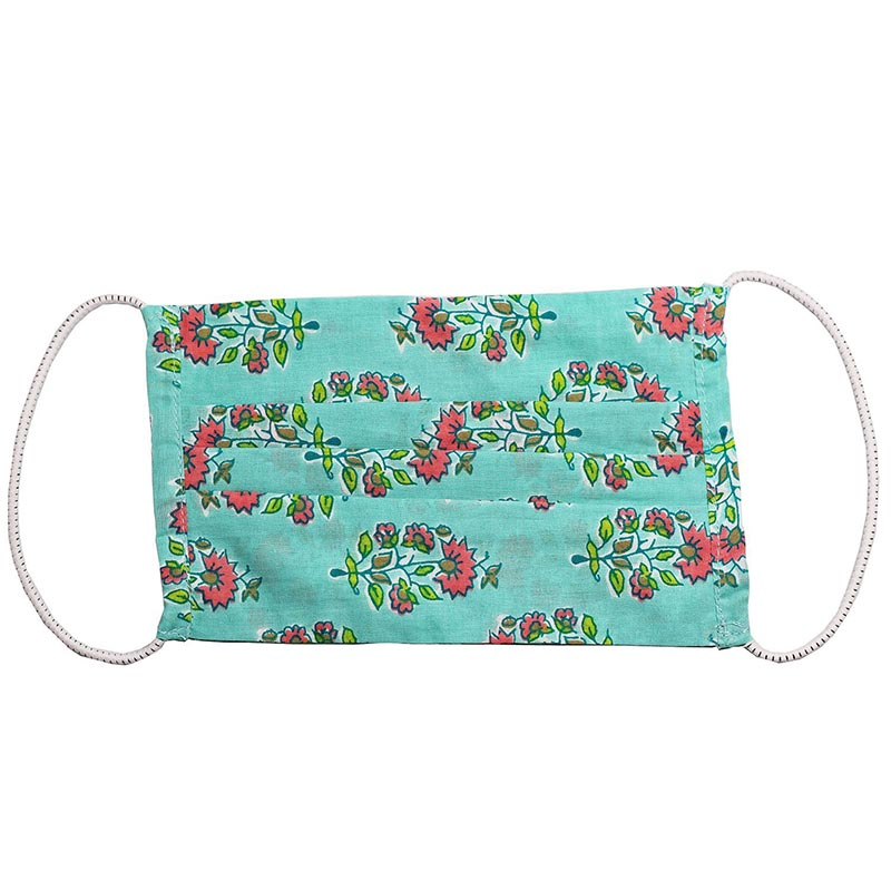 SETU Three Ply Elastic Face Mask - Teal Blue with Pink and Green Floral Pattern - Rainbow Life