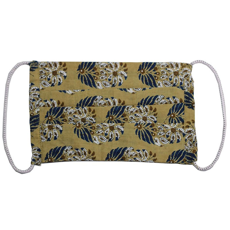 SETU Three Ply Elastic Face Mask - Cream with Navy and White Floral Design - Rainbow Life