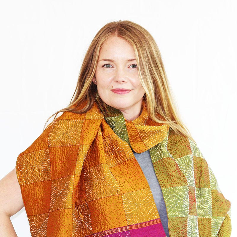 CHEAP Upcycled Kantha Silk Sari Scarves-Small Square Pattern Style 4 28723196291 – Women's Accessories